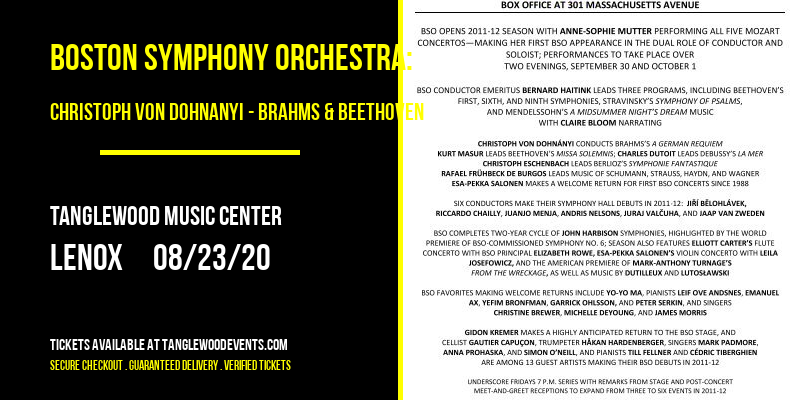 Boston Symphony Orchestra: Christoph Von Dohnanyi - Brahms & Beethoven [CANCELLED] at Tanglewood Music Center